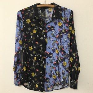 TOPSHOP Floral Long Sleeve Button Down Shirt